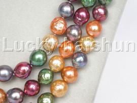 "AAA long Baroque 50"" 11mm Multicolor Reborn keshi pearls necklace 18KGP clasp j13240"