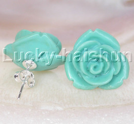 Stud 17mm carved rugosa rose flower simulated turquoise Earrings post j13242