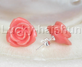 Stud 15mm carved rugosa rose flower simulated pink coral Earrings post j13243