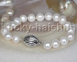 "natural 8"" 11mm round white freshwater pearls Bracelet 18KGP clasp j13244"