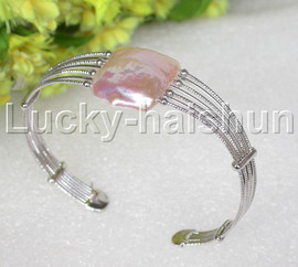 natural adjustable square pink-purple Reborn keshi pearls bracelet j13246