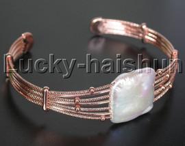 AAA luster adjustable white Reborn keshi pearls bracelet Rose Gold Plated j13248