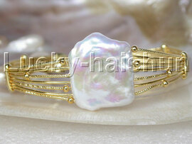 AAA luster adjustable white Reborn keshi pearls bracelet Gold Plated j13249