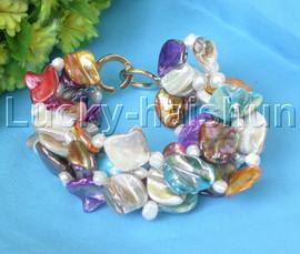 "8"" 5row Baroque white pearls Multicolor seashell necklace Bracelets j13253"