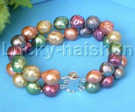 "AAA Baroque 8"" 2row 11mm Multicolor Reborn keshi pearls bracelet j13258"