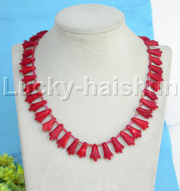 """AAA natural 17"""" carved flower red coral necklace 18KGP clasp j13259"""