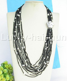 """AAA 27-32"""" 12row baroque white pearls black agate necklace seashell clasp j13260"""