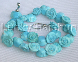 """AAA natural 18"""" 19mm Blue carved rose turquoise necklace 18KGP j13262"""