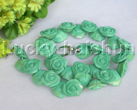 """AAA natural 18"""" 19mm green carved rose turquoise necklace 18KGP j13263"""