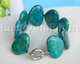"""AAA natural 8"""" 21X30mm oval green chrysocolla Bracelet 18KGP clasp j13265"""