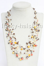 "Baroque 18"" 15row Multicolor freshwater pearls necklace 18KGP clasp j13269"