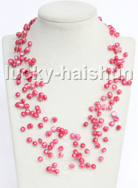"Baroque 18"" 15row red freshwater pearls necklace 18KGP clasp j13270"