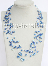 """Baroque 18"""" 15row blue freshwater pearls necklace 18KGP clasp j13271"""