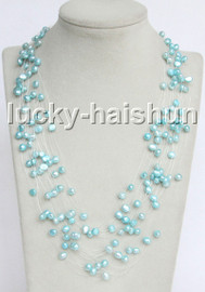"""Baroque 18"""" 15row sky-blue freshwater pearls necklace 18KGP clasp j13272"""