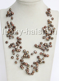"Baroque 18"" 15row coffee freshwater pearls necklace 18KGP clasp j13274"