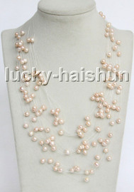 """Baroque 18"""" 15row pink-purple freshwater pearls necklace 18KGP clasp j13276"""