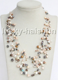 """Baroque 18"""" 15row Multi-color freshwater pearls necklace 18KGP clasp j13277"""