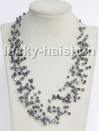 """Baroque 18"""" 15row black freshwater pearls necklace 18KGP clasp j13278"""