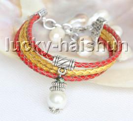 Fashion adjustable 4row white seashell pearls leather Bracelet j13282