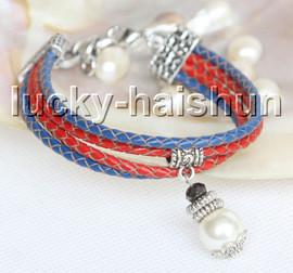 Fashion adjustable 4row white seashell pearls leather Bracelet j13283