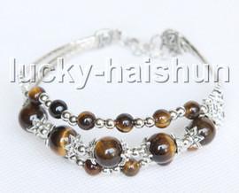 "Fashion adjustable 7""-8"" 3row yellow Tiger's eyes beads Bracelet j13285"