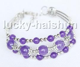 """Fashion adjustable 7""""-8"""" 3row purple jade beads Bracelet j13286"""