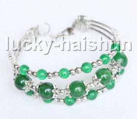 "Fashion adjustable 7""-8"" 3row green jade beads Bracelet j13287"