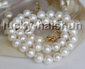 """natural 17"""" 11mm round white freshwater pearls necklace filled gold clasp j13291"""