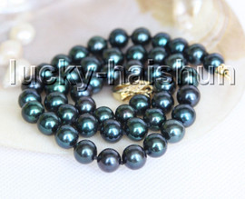 """AAA 17"""" 10mm round peacock Black pearls necklace filled gold clasp j13292"""