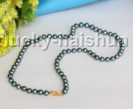 """AAAA 17"""" 6.5mm round peacock Black pearls necklace 14KT clasp j13293"""