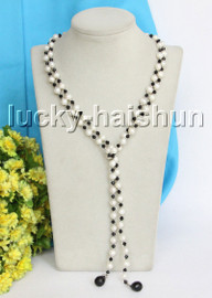 """Long 50"""" 8mm round white freshwater pearls agate necklace j13298"""