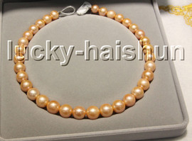"""NATURAL GRADUATED 17"""" 14MM ROUND PINK SOUTH SEA PEARL NECKLACE 14KT CLASP j13312"""