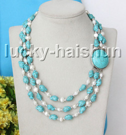 """natural Baroque 17"""" 3row white pearls blue turquoise necklace c2"""