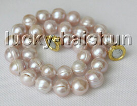 """natural 17"""" 13mm purple freshwater pearls necklace magnet clasp c5"""