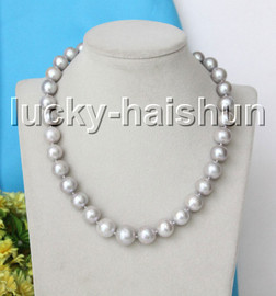 """Genuine 17"""" 14mm gray round freshwater pearls beads necklace 14K clasp c7"""