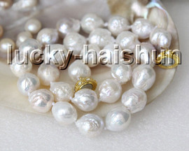 """natural 17"""" 17mm white Reborn keshi pearls necklace magnet clasp c8"""