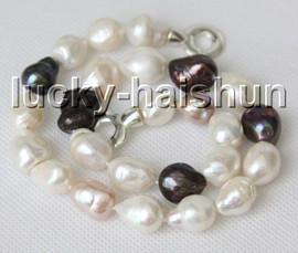 """natural Baroque 17"""" 16mm Multicolor pearls necklace 925 silver clasp c9"""