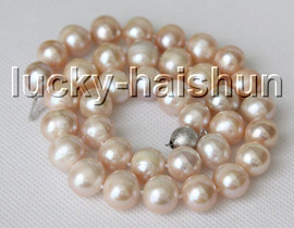 """natural 18"""" 12mm round pink freshwater pearls beads necklace 18KGP clasp c10"""