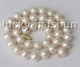 """natural 17"""" 12mm round white freshwater pearls beads necklace 14K clasp c11"""
