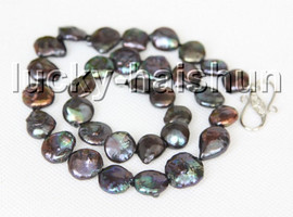 """natural 17"""" 13mm coin fastener Black freshwater pearls beads necklace 18KGP clasp c12"""