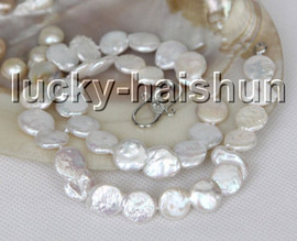 """natural 17"""" 13mm coin fastener white freshwater beads pearls necklace 18KGP clasp c13"""
