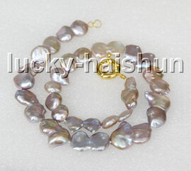 """natural 17"""" 13mm coin fastener purple freshwater pearls necklace gold plated clasp c14"""