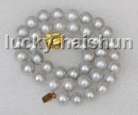 """natural 17"""" 11mm round Gray freshwater pearls beads necklace gold plated clasp c16"""