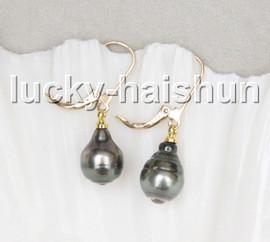 AAA natural 12mm Dangle drip Baroque black Tahitian pearls Earrings 14K hoop c22