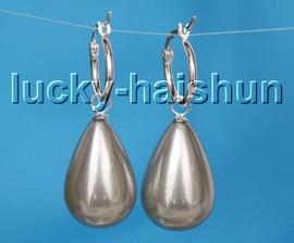 AAA Genuine 16X25mm drip gray south sea shell pearls Earrings 925sc hoop c26