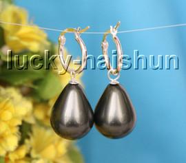 AAA Genuine 16X20mm drip Tahitian black south sea shell pearls Earrings 925sc hoop c28