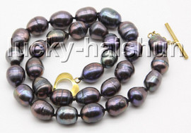 """Genuine 17"""" 14mm Baroque rice black brown freshwater pearls knotted Necklace c32"""