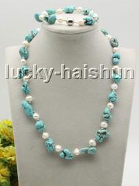 "natural Baroque 18"" 8"" white pearls blue turquoise necklace bracelet set c33"