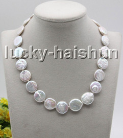 """natural 17"""" 16mm coin fastener bleb white freshwater pearls knotted necklace c34"""