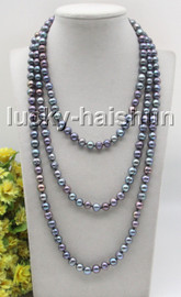 """long 64"""" 9mm round peacock Black freshwater pearls beads knotted necklace c36"""